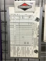 "Briggs and Stratton check chart 9"" x 15"""