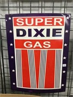 """Super Dixie gas steel sign reproduction 18"""" x 24"""""""