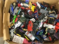 Large box of assorted toy cars