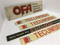 Group of assorted plastic signs