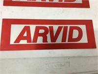 """Four Arvid aluminum signs 4"""" x 12"""""""