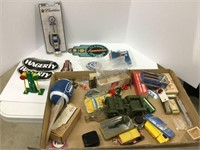 Large box of assorted collectibles, decals, toys