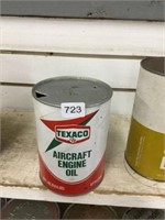 Texaco aircraft engine oil quart can, fibre