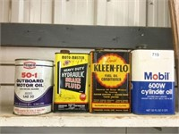 Four assorted oil cans
