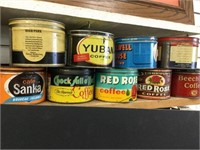 10 assorted coffee tins