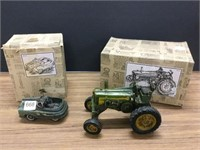 Toy tractor and car