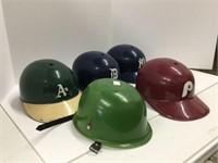 Box of assorted baseball helmets