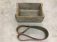 Pepsi-Cola wooden crate and belt