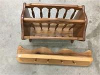 Wooden magazine rack and shelf