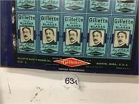 Gillette blue blades, cardboard advertisement