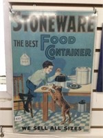 "Stoneware tin reproduction sign 12"" x 18"""