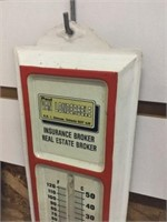 Insurance broker tin thermometer 13 inches
