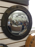 Brass framed porthole convex mirror 19 inches