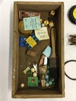 Box of assorted vintage toys, marbles etc.