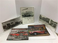 Group of assorted auto motive pictures, calendars