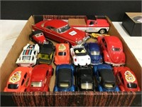 Box of assorted toy cars