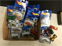 Box of assorted hot wheels cars