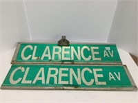 Two Clarence Avenue roadsigns