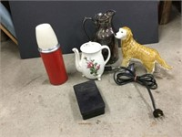 Group of assorted thermoses, glassware etc.