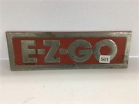 "E – Z – GO cast aluminum badge 11"" x 3 1/2"""
