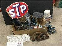 Box of assorted automotive parts