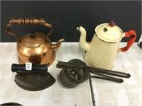 Two kettles sad iron etc.