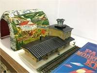 Paper model airplane kit and train station etc.