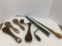 Group of wooden ladle and auger bits