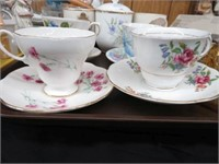 3 trays of cups & saucers, figurines, stemware,