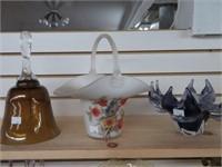 Bell, handled basket & art glass