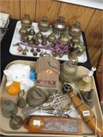 2 trays of brass bells ,etc.