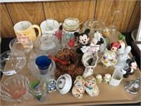 Tray of mugs, stemware, etc.