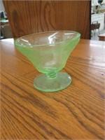 5 green depression glass bowls
