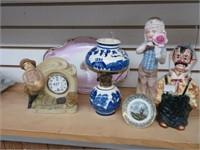 Group of figurines, clock, lamp, etc.