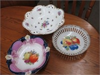 Pair of candle holders & serving dishes