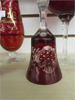 Group of cranberry bells, vases, etc.