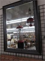 Framed beveled glass wall mirror