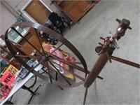 Large antique spinning wheel