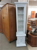 Painted lighted curio cabinet
