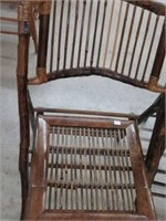 Pair of bamboo folding chairs