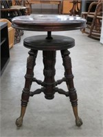 Piano stool with glass & claw feet