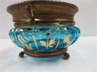 Footed covered hand painted dish