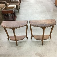 Pair of half moon end tables