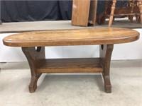 Oak pedestal coffee table