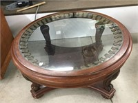 Round brass & glass top coffe table