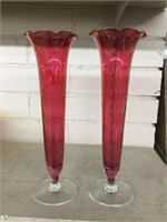 Pair of cranberry fluted vases