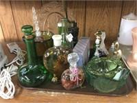 Tray of bottles, perfume bells, etc.