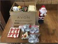 3 boxes of Christmas ornaments, artificial flowers