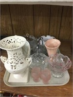 Tray of serving dishes & vases