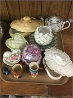 Tray of covered dishes, teapot, etc.